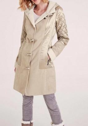 Lamb fur look coat, beige