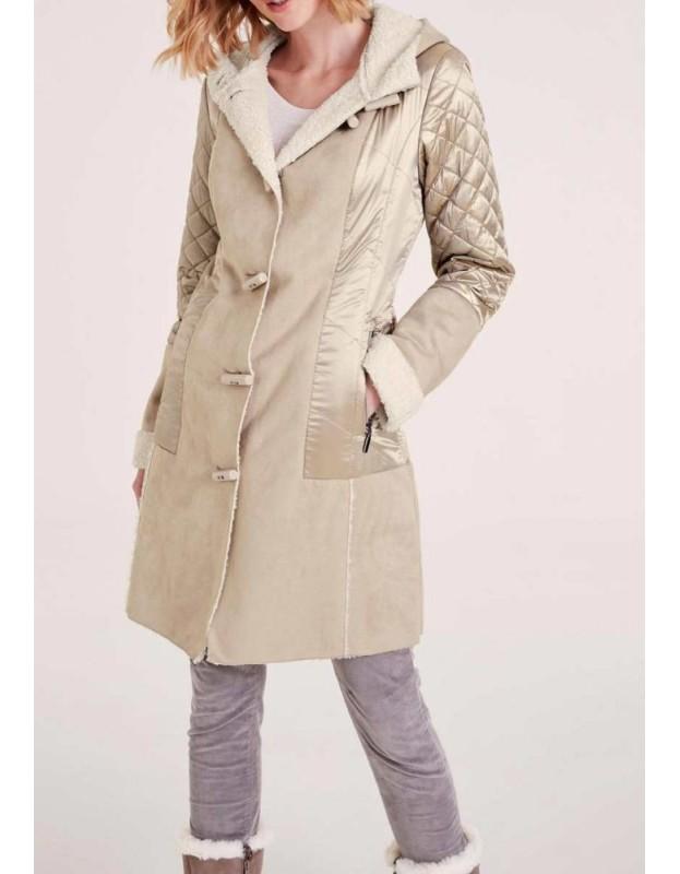 Smėlinis verstos odos paltas