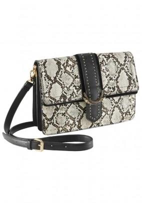Bag with rivets, snake-black