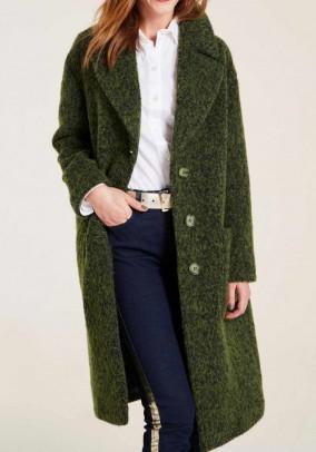 Wool fleece coat, green-flamed