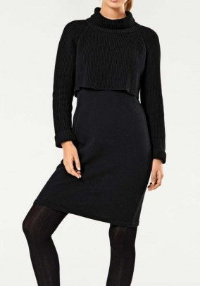 Two in one knit dress, black