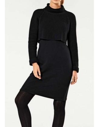 Didesnio dydžio juoda megzta suknelė