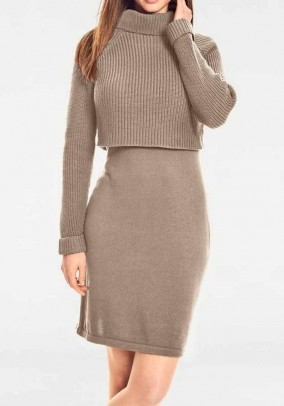 Two in one knit dress, walnut