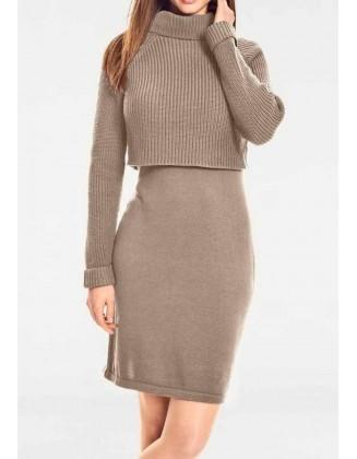 Didesnio dydžio ruda megzta suknelė