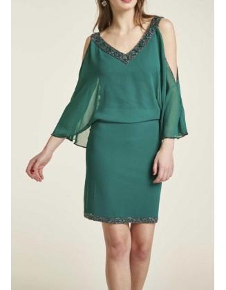 Žalia kokteilinė suknelė