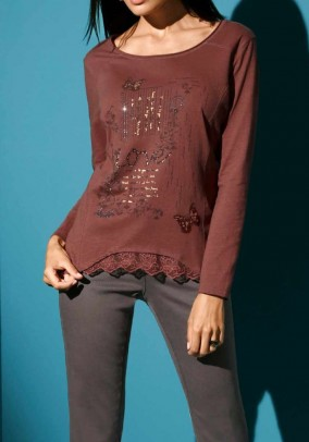 Print shirt with lace, copper coloured