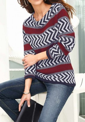 Sweater, black-cherry-patterned