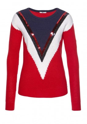 Knit sweater with sequins, red-blue-white