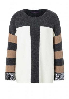 Comfort sweater with sequins, grey-ecru