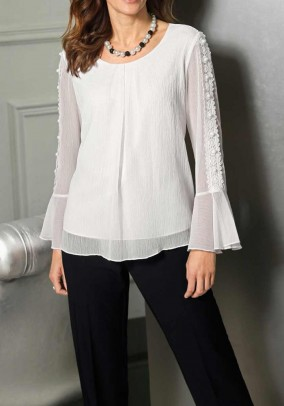 Blouse with lace, wool white