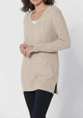 Sweater with cashmere, beige