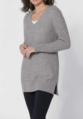 Sweater with cashmere, grey blend