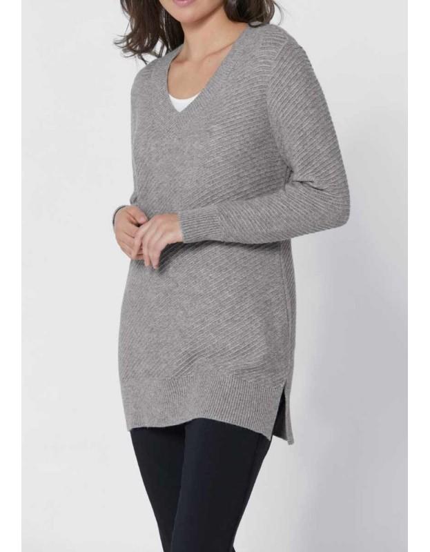 Pilkas Création L megztinis su kašmyru ir šilku