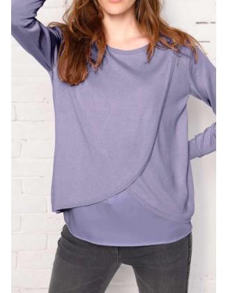 """Levandų spalvos šilkinis megztinis """"Wrap"""""""
