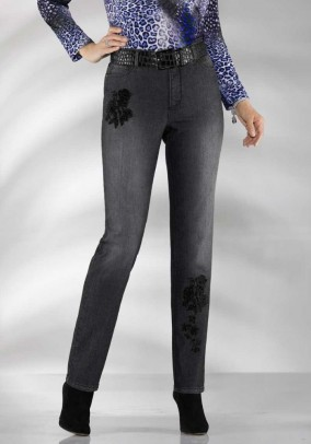 Jeans with embroidery, black-used