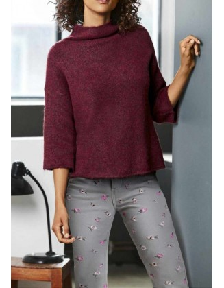 Bordo spalvos trumpas laisvas megztinis