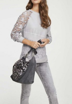 Sweatshirt with lace, light grey used