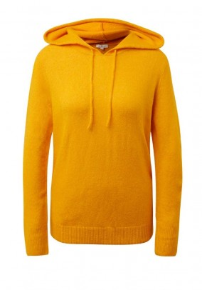 Hooded sweater with wool, yellow