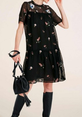 Dress with embroidery, black-multicolour