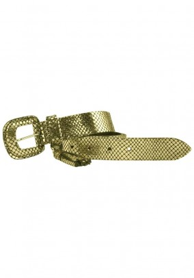 Leather belt, gold-colored