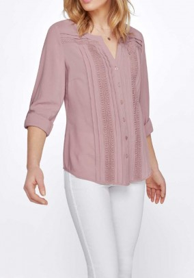 Blouse with lace, rose