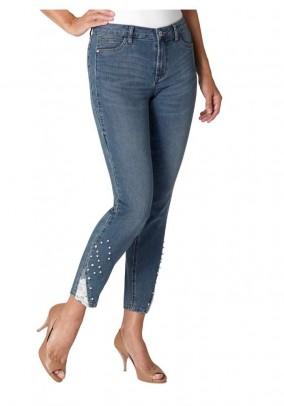 Mėlyni siuvinėti Ambria džinsai
