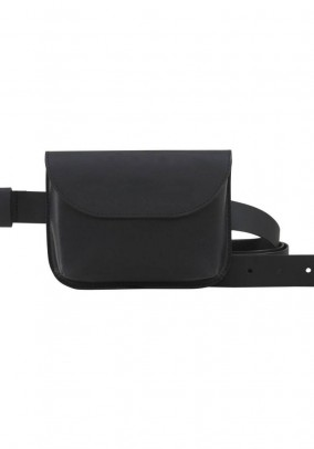 Leather belt + leather belt pouch, black