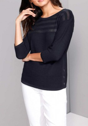 Rib knit swater with silk, navy