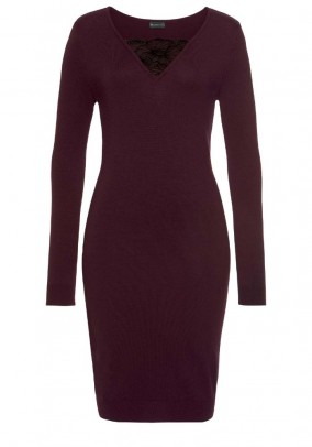Fine knit dress with lace, wine red