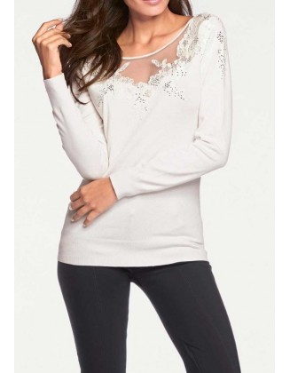 Baltas dekoruotas megztinis