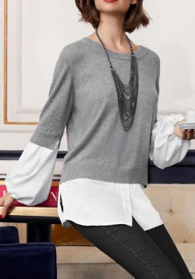 Two-in-one sweater with cashmere, grey ecru