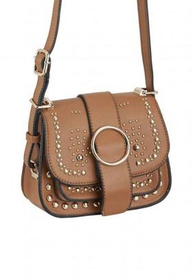 Bag with rivets, cognac