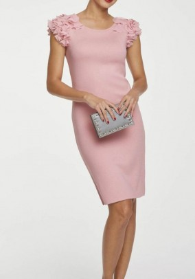 Knit dress with flounces, rose