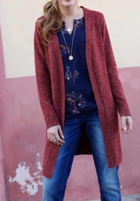 Knit coat, wine red blend
