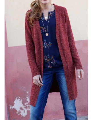 Ilgas bordo spalvos megztinis