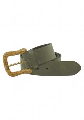 Leather belt, olive