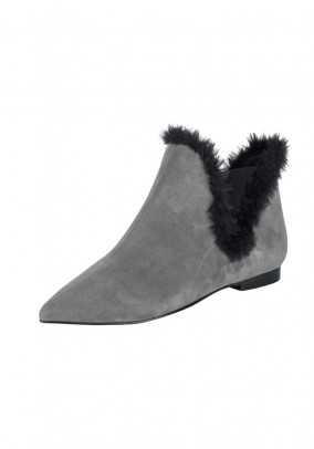 Velour bootie with weave fur, grey-black