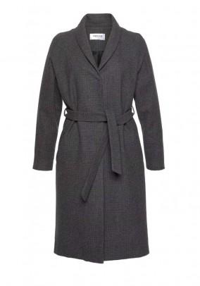Pilkas klasikinis vilnonis paltas