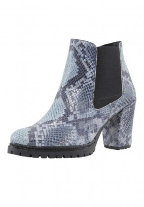 Leather bootie, blue-black