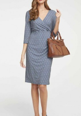 Print dress, blue-offwhite