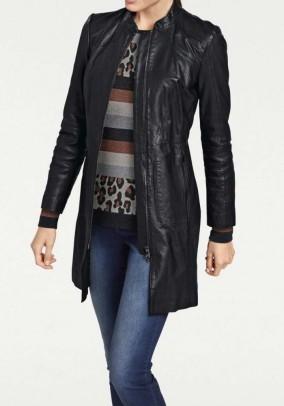 Lamn nappa leather coat, black