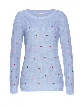 Melsvas žaismingas megztinis