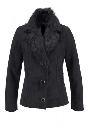 Lamb fur look jacket, black