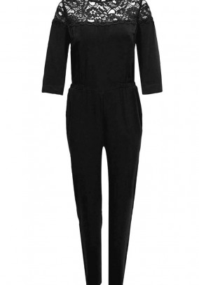 Jumpsuit with lace, black