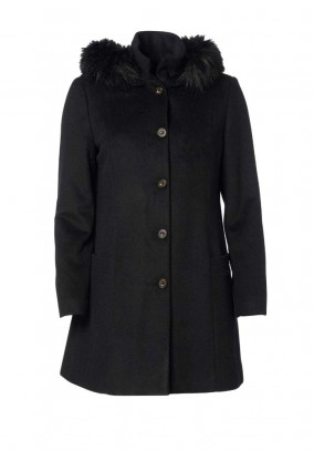 Wool coat with weave fur, black
