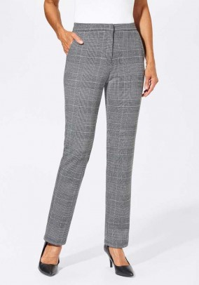 Glencheck pattern jersey trousers, black-white