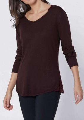Sweater with silk and lace, egg plant