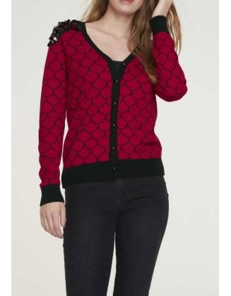 Raudonas žvyneliais dekoruotas megztinis