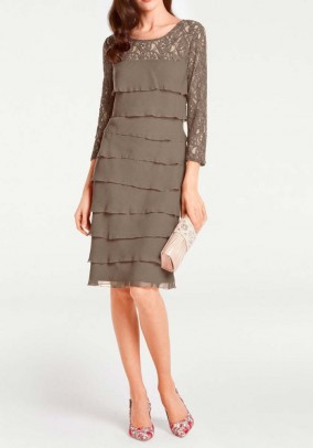 Lace chiffon dress, taupe