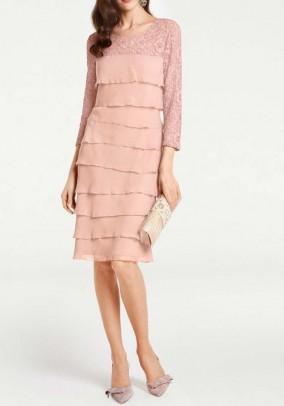 Lace chiffon dress, rose